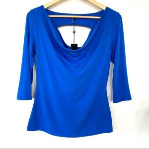 Tart top with cowl neck and back cutout